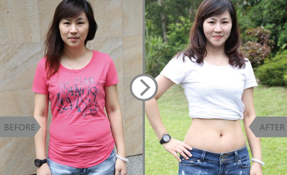 就算穿寬鬆的T恤,還是有肉肉的痕跡。「露腰」這件事在做冷凍減脂之前,完全不敢想像。