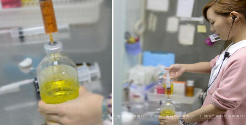 護士正在準備細胞濾鏡點滴