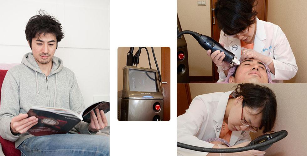 川原候診中▲本次主角之一的4D標靶電波儀▲盧醫師認真奮鬥20分鐘