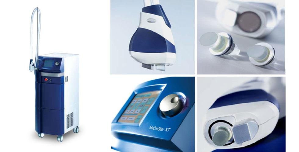 光纖雷射(MeDioStar miXT)治療儀與探頭。