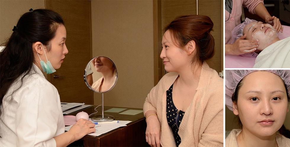 蔡依倫醫師先進行問診▲淨膚雷射先由美療師清潔臉部(即使無上妝,也要徹底清潔臉部的細小髒污。)