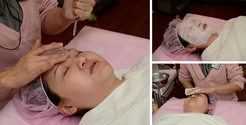 經過淨膚雷射後因為臉部會有些微熱熱的,所以敷上保溼鎮靜面膜,冰涼冰涼的很舒服喔!