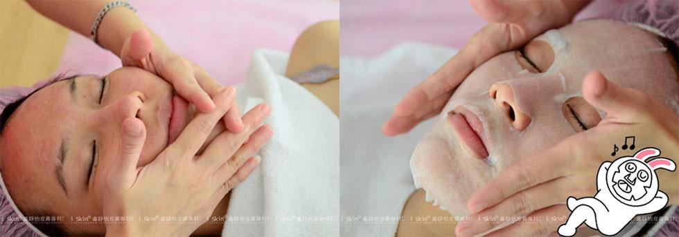 由iskin美容師細緻按摩滋養皮膚,並修護皮脂膜,舒緩換膚時刺癢的不適感 ▲再敷上面膜10分鐘,同時閉眼休息享受一下, 就快完成囉!