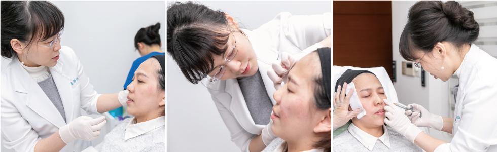 盧靜怡醫師運用玻尿酸,仔細針對我臉部各處瑕疵做修飾,填補細紋外,也增加了五官立體度。