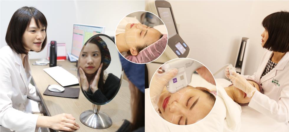 陳清筠醫師術前評估我的肌膚狀況,其實整體膚況算是維持的不錯喔~(感動哭),只是為了維持鏡頭前的最佳狀態,建議我用「音波拉皮」,拉提找回下巴曲線。