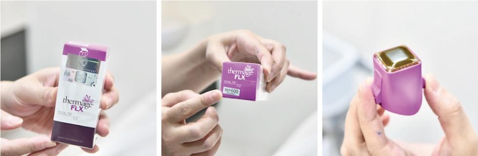紫鑽探頭的治療速度比傳統探頭快了25%,能更精準的改善細紋及達到緊實拉提的效果。拆封後可以看到一次性使用的紫鑽探頭,會裝在治療用的手把上。
