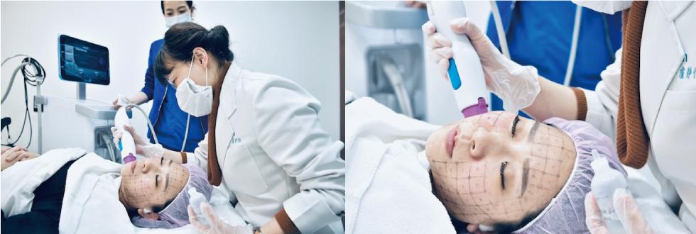 這裡盧醫師是在施打下巴跟臉的交際處。